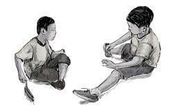 Croquis de deux petits amis jouant des jouets en sable au terrain de jeu p Photos stock