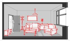 Croquis de diagramme meublé de salon illustration libre de droits