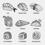 Croquis de différents genres de sushi Petits pains de graphique utilisés pour faire de la publicité le menu de sushi Photographie stock libre de droits