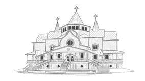 Croquis de domaine de Ded Moroz dans Velikiy Ustyug images libres de droits