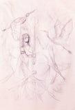 croquis de femme et d'épée avec des oiseaux Photo stock