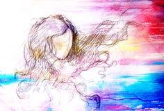 Croquis de femme et de cheveux de flottement Dessin au crayon sur le vieux papier Effet de couleur Images libres de droits