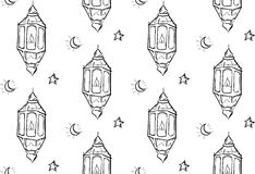 Croquis de fond de Ramadan Lantern Seamless Pattern White Photos stock