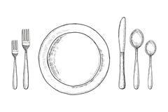 Croquis de fourchette et de cuillère de couteau de plat illustration réglée de vecteur de vintage de couverts illustration de vecteur