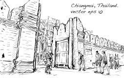 Croquis de gaet de Tha Phae d'héritage d'aisa d'exposition de paysage urbain dans Chiangma Photos stock