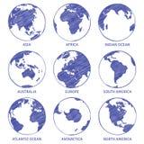 Croquis de globe Le globe tiré par la main du monde de carte, continents de concept de cercle de la terre contournent des océans  illustration stock