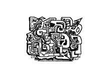 Croquis de graffiti abstrait noir et blanc Photographie stock