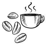 Croquis de grains de café et de cuvette Image stock