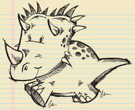 Croquis de griffonnage de dinosaur de Triceratops Image libre de droits