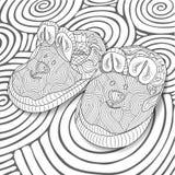 Croquis de griffonnage des petits chaussons de bébé dans la conception noire et blanche de zentangle Livre de coloriage pour les  Images libres de droits