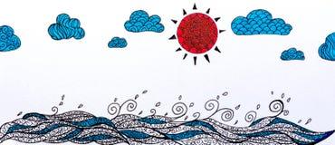 Croquis de griffonnage de mer et nuage de ciel Photographie stock libre de droits