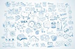 Croquis de griffonnages d'affaires réglé : éléments d'infographics d'isolement, formes de vecteur illustration stock