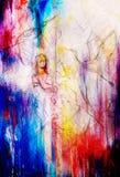 Croquis de jeune jeune fille dans la longue robe avec l'oiseau de Phoenix Effet de couleur Image stock