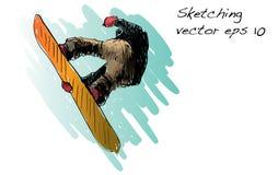 Croquis de l'équitation d'homme de panneau de neige, sport d'hiver, coll de snowboarding Images libres de droits