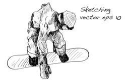 Croquis de l'équitation d'homme de panneau de neige, sport d'hiver, coll de snowboarding Image libre de droits