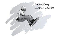 Croquis de l'équitation d'homme de panneau de neige, sport d'hiver, coll de snowboarding Photographie stock