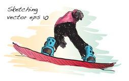 Croquis de l'équitation d'homme de panneau de neige, sport d'hiver, coll de snowboarding Photo stock