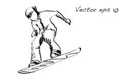 Croquis de l'équitation d'homme de panneau de neige, sport d'hiver, coll de snowboarding Photographie stock libre de droits