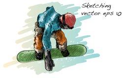 Croquis de l'équitation d'homme de panneau de neige, sport d'hiver, coll de snowboarding Photo libre de droits