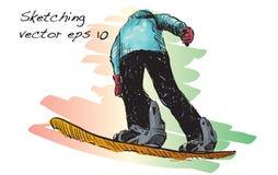 Croquis de l'équitation d'homme de panneau de neige, sport d'hiver, coll de snowboarding Photos libres de droits