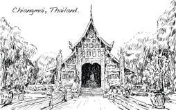 Croquis de l'espace de temple de style de l'Asie d'exposition de paysage urbain en Thaïlande, IL Image stock