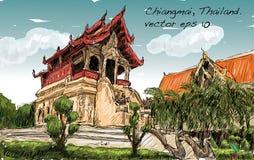 Croquis de l'espace de temple de style de l'Asie d'exposition de paysage urbain en Thaïlande, IL Photo libre de droits