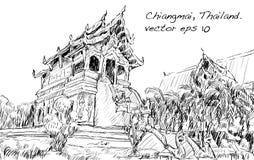 Croquis de l'espace de temple de style de l'Asie d'exposition de paysage urbain en Thaïlande, IL Photo stock
