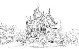 Croquis de l'espace de temple de style de l'Asie d'exposition de paysage urbain en Thaïlande, IL Photographie stock libre de droits