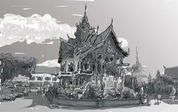 Croquis de l'espace de temple de style de l'Asie d'exposition de paysage urbain en Thaïlande, IL Images stock