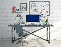 Croquis de lieu de travail illustration libre de droits