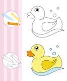 Croquis de livre de coloration : canard en caoutchouc Image stock