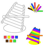Croquis de livre de coloration : xylophone Images libres de droits