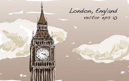Croquis de Londres, Angleterre, exposition Big Ben avec des nuages dans le ton de sépia Images stock