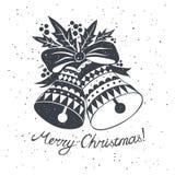 Croquis de Noël avec des cloches Images libres de droits
