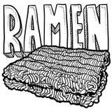 Croquis de nouilles de Ramen Images stock