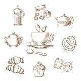 Croquis de pâtisserie de thé et de dessert Photo stock