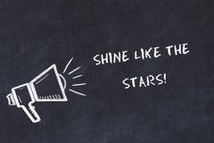 Croquis de panneau de craie avec le haut-parleur et l'éclat de motivation d'expression comme les étoiles illustration libre de droits