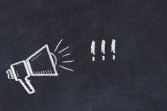 Croquis de panneau de craie avec le haut-parleur et l'expression illustration stock