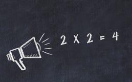 Croquis de panneau de craie avec le haut-parleur et l'expression 2 x 2 4 illustration de vecteur