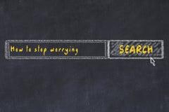 Croquis de panneau de craie de moteur de recherche d'Internet Recherchant comment cesser de s'inquiéter illustration de vecteur