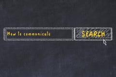 Croquis de panneau de craie de moteur de recherche d'Internet Recherchant comment communiquer illustration libre de droits