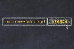 Croquis de panneau de craie de moteur de recherche d'Internet Recherchant comment communiquer avec un dieu illustration de vecteur