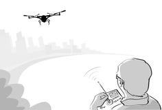 Croquis de parc de Quadrocopter d'air de vol de bourdon de contrôle de silhouette d'homme Photographie stock libre de droits