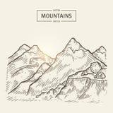 Croquis de paysage de montagnes Silhouette de montagnes de vecteur avec des roches de taille illustration stock