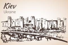 Croquis de paysage urbain de Kiev avec le pont Photos libres de droits