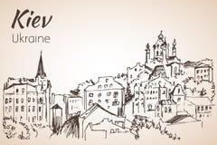 Croquis de paysage urbain de Kiev avec le pont Image stock