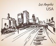 Croquis de paysage urbain de Los Angeles illustration stock