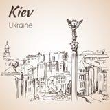 Croquis de paysage urbain de Maidan de place de l'indépendance de Kiev Photographie stock