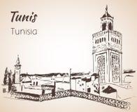 Croquis de paysage urbain de Tunis Images libres de droits