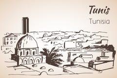 Croquis de paysage urbain de Tunis Photo libre de droits